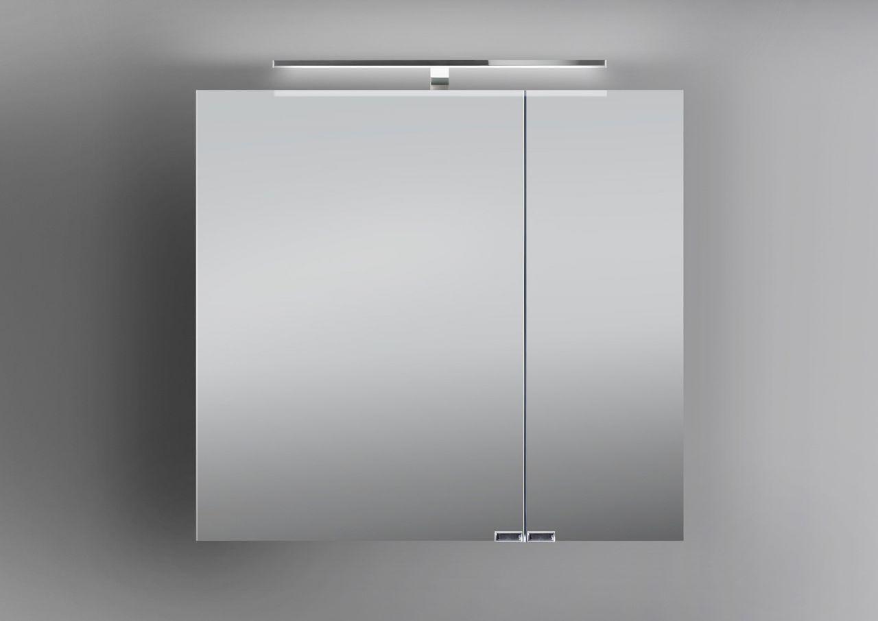 Spiegelschrank Bad 70 cm LED Beleuchtung doppelt verspiegelt : Weiß ...