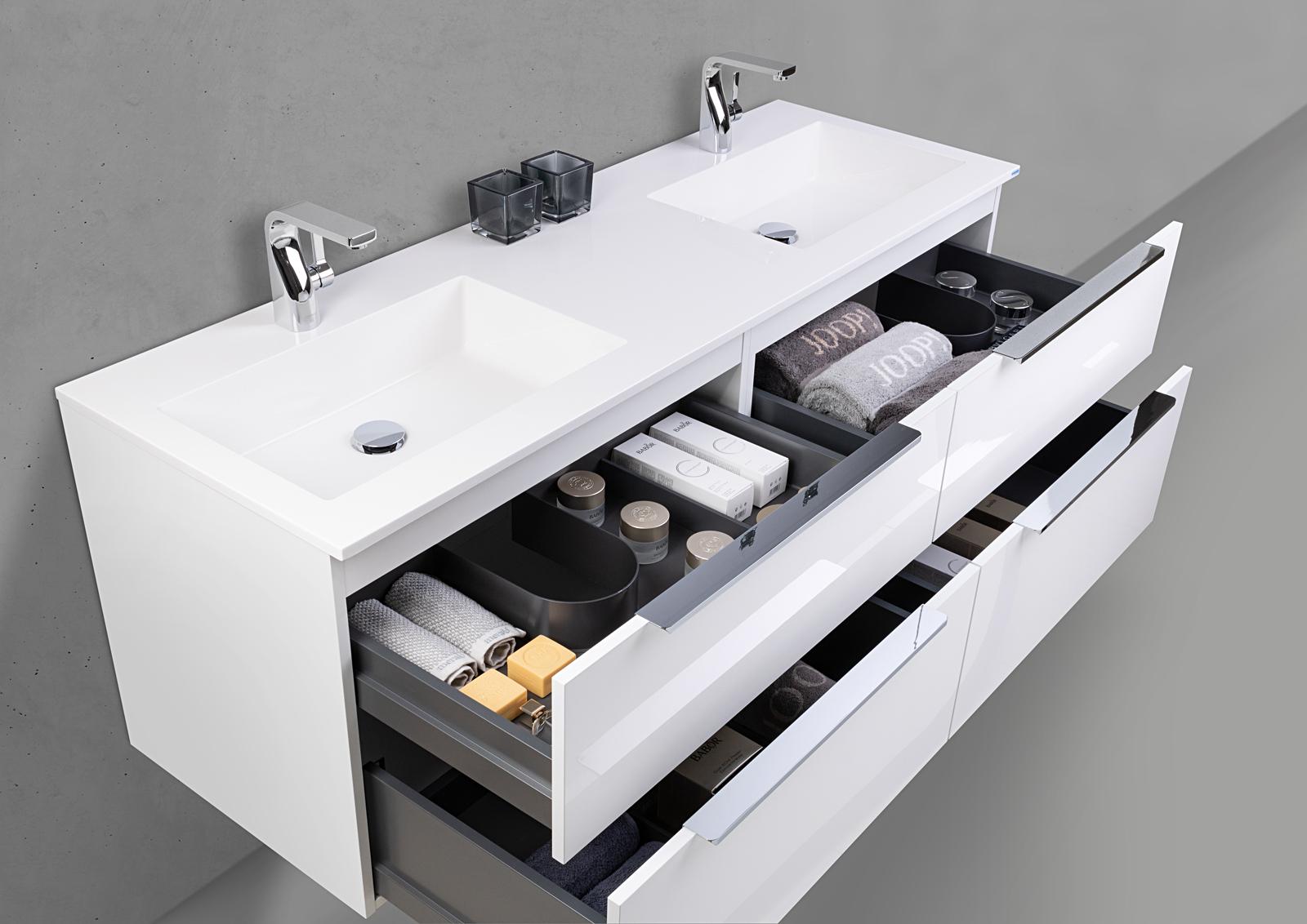 Badmöbel Set SKY Doppelwaschtisch 150 cm mit Unterschrank und Evermite Waschbecken ...