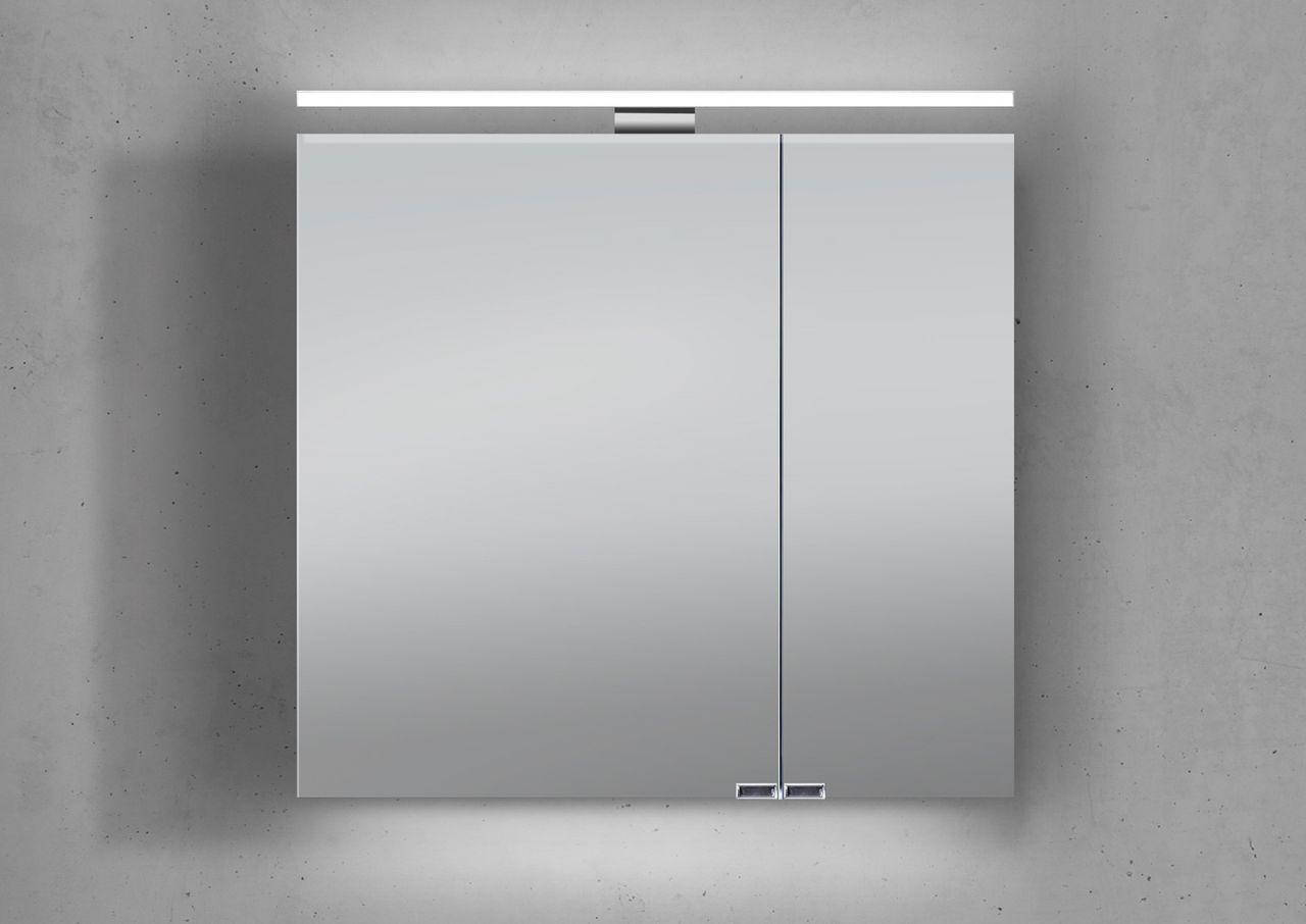 Spiegelschrank 60 cm LED Beleuchtung doppelt verspiegelt : Weiß ...